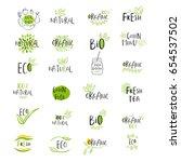 set of vector eco  bio green... | Shutterstock .eps vector #654537502
