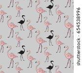 vector pink black flamingo... | Shutterstock .eps vector #654538996