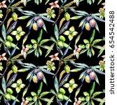 olive tree pattern in a... | Shutterstock . vector #654542488
