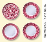 set of ornamental porcelain... | Shutterstock .eps vector #654543346