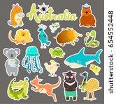 set of stickers with australian ...   Shutterstock . vector #654552448