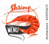 chalk menu logo orange shrimp... | Shutterstock .eps vector #654553672