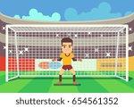 soccer goalkeeper keeping goal... | Shutterstock . vector #654561352