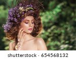 fashion portrait girl with... | Shutterstock . vector #654568132