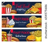 fast food banners of burgers ... | Shutterstock .eps vector #654575686