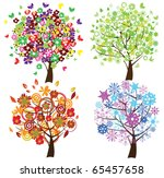 vector four season trees | Shutterstock .eps vector #65457658