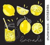 poster with lemonade elements...   Shutterstock .eps vector #654583486
