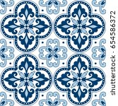 beautiful ornamental tile... | Shutterstock .eps vector #654586372