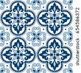 beautiful ornamental tile... | Shutterstock .eps vector #654586372