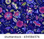 fabulous colorful flowers on... | Shutterstock .eps vector #654586576