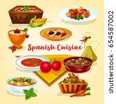 spanish cuisine tasty dinner... | Shutterstock .eps vector #654587002