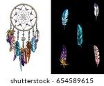 hand drawn ornate dreamcatcher... | Shutterstock .eps vector #654589615