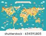 animal map for kid. world... | Shutterstock . vector #654591805