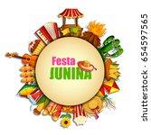 vector illustration of festa... | Shutterstock .eps vector #654597565