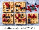 homemade square belgian waffles ...   Shutterstock . vector #654598555