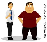 thin and fat. obesity.... | Shutterstock .eps vector #654599302