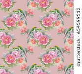 seamless pattern with pink... | Shutterstock . vector #654599512