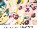 group of people having fun...   Shutterstock . vector #654607492