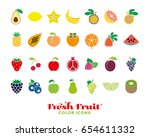 set of twenty eight fresh fruit ... | Shutterstock .eps vector #654611332