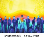 man with positive power and... | Shutterstock . vector #654624985