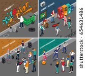 street artists isometric...   Shutterstock .eps vector #654631486