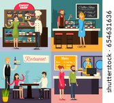 four square cafe worker flat... | Shutterstock .eps vector #654631636