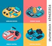 isometric wireless mobile... | Shutterstock .eps vector #654631816