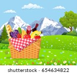 picnic in the mountains. wicker ... | Shutterstock .eps vector #654634822