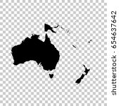 oceania map isolated on... | Shutterstock .eps vector #654637642