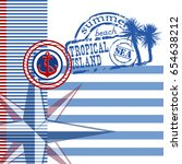 blue and white striped... | Shutterstock .eps vector #654638212