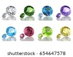 colored gems set. 3d rendering... | Shutterstock . vector #654647578