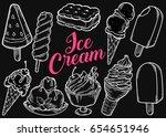 ice cream set of sweet dessert...   Shutterstock .eps vector #654651946