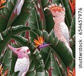 seamless tropical pattern.... | Shutterstock .eps vector #654657976