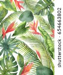 watercolor card with tropical... | Shutterstock . vector #654663802