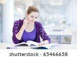 pretty young college student in ... | Shutterstock . vector #65466658