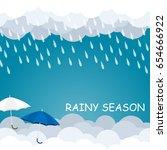 rainy season umbrella float on... | Shutterstock .eps vector #654666922