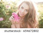 smiling beautiful blonde woman...   Shutterstock . vector #654672802