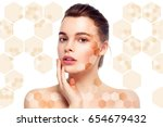 healthy skin and hair woman... | Shutterstock . vector #654679432