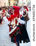 Small photo of Asti, Italy - September 19, 2010: Drummer in the historic Medieval parade of the Palio. The Palio is a horse race in Italy. Riders on horses without saddles represent the district of the city.