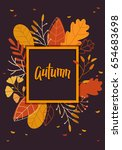 autumn banner with leaves | Shutterstock .eps vector #654683698