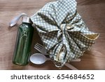 healthy lunch box wrapped  by... | Shutterstock . vector #654684652