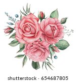 hand painted watercolor... | Shutterstock . vector #654687805