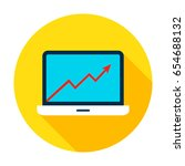 laptop growth graph icon.... | Shutterstock .eps vector #654688132