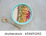 healthy smoothie bowl with ... | Shutterstock . vector #654691042