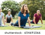 mature healthy people doing... | Shutterstock . vector #654691066