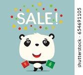 poster seasonal sale. funny... | Shutterstock .eps vector #654691105