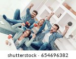 cheerful group of friends... | Shutterstock . vector #654696382