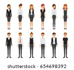 collection of business office... | Shutterstock .eps vector #654698392