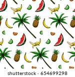hand drawn colored seamless... | Shutterstock .eps vector #654699298