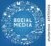 set of hand drawn social media... | Shutterstock .eps vector #654701416